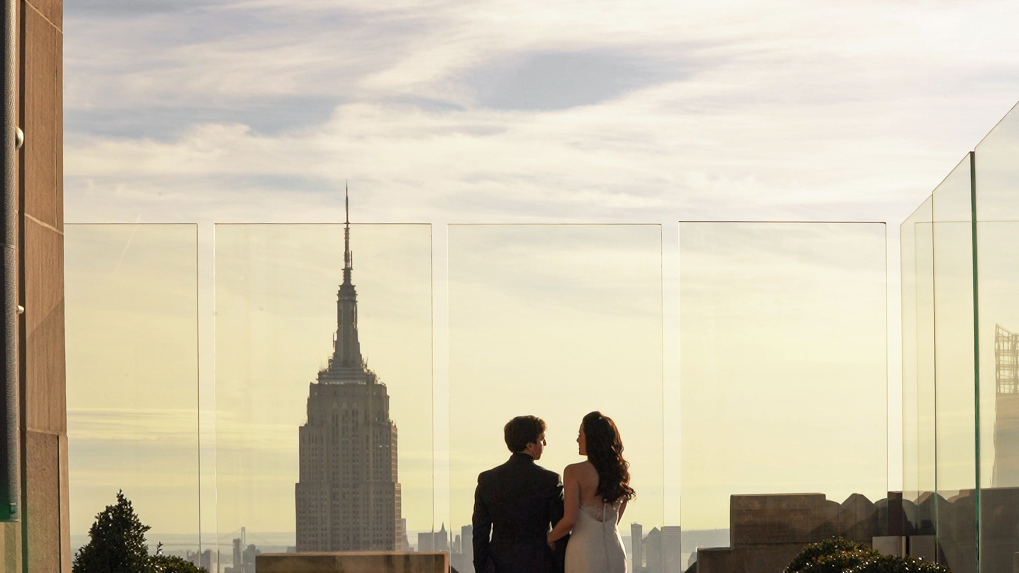 Couple looking at New York City Skyline from the Rainbow Room